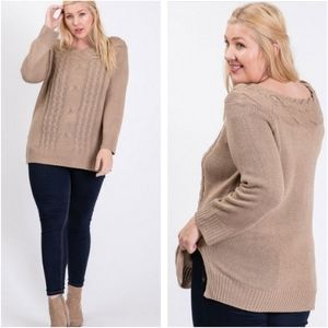 Plus size Cocoa Cable Knit Side Slit Sweater Tunic
